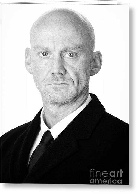Bouncer Greeting Cards - Bald Headed Man Wearing Heavy Black Overcoat Greeting Card by Joe Fox