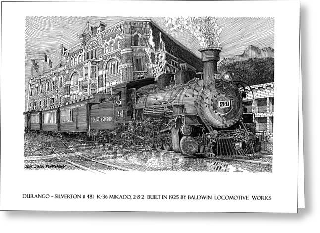 Historic Us Open Greeting Cards - Baldwin 481   2 8 2   Narrow Gauge Steam Locomotive Greeting Card by Jack Pumphrey