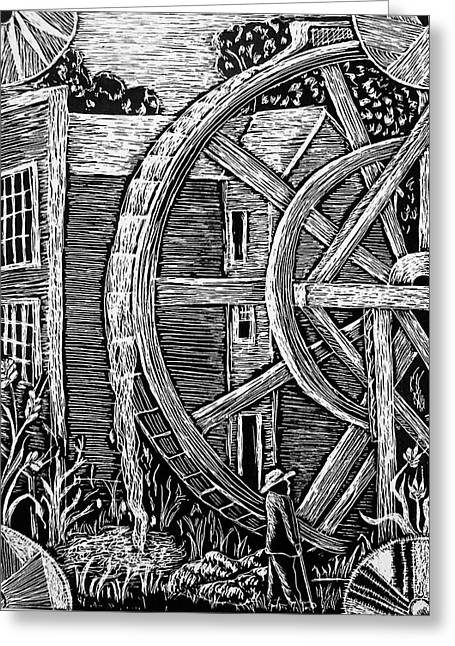 Grist Mill Drawings Greeting Cards - Bale Grist Mill Greeting Card by Valera Ainsworth