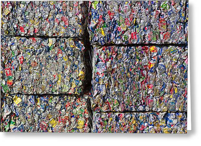 Bale Greeting Cards - Bales of Aluminum Cans Greeting Card by David Buffington