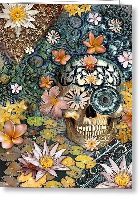 Bali Botaniskull - Floral Sugar Skull Art Greeting Card by Christopher Beikmann