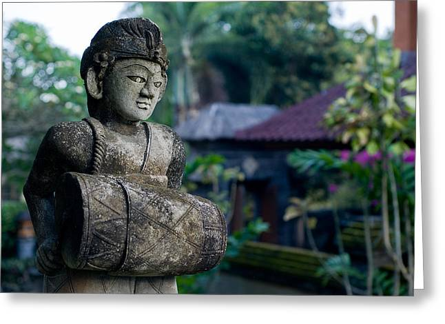 Drummers Photographs Greeting Cards - Balinese Drummer Greeting Card by Nila Newsom