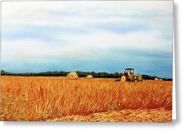 Bale Pastels Greeting Cards - Baling Hay Greeting Card by Jan Amiss