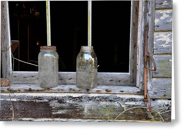 Mason Jars Greeting Cards - Ball and Atlas Greeting Card by Todd Hostetter