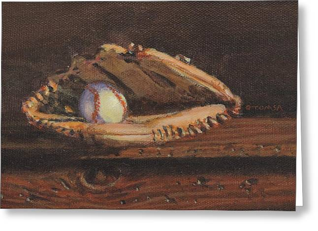 Old Pitcher Greeting Cards - Ball and Glove Greeting Card by Bill Tomsa