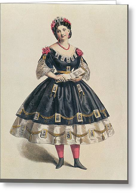 Ball Gown Decorated With Photographic Cartes De Visite  Greeting Card by French School