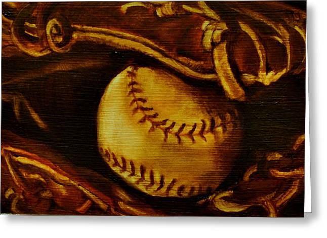 Baseball Gloves Paintings Greeting Cards - Ball in Glove 2 Greeting Card by Lindsay Frost