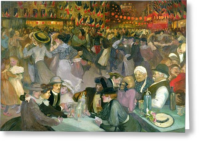 The Ball Greeting Cards - Ball on the 14th July Greeting Card by Theophile Alexandre Steinlen