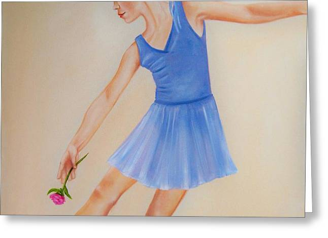 Ballerina Blue Greeting Card by Joni M McPherson