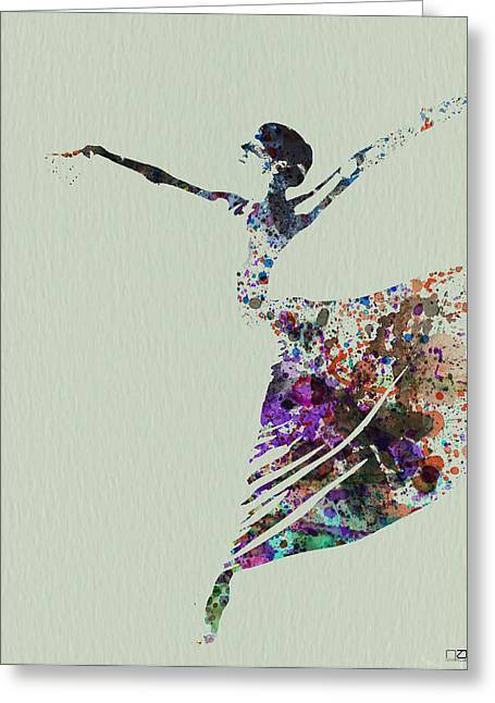 Dating Paintings Greeting Cards - Ballerina dancing watercolor Greeting Card by Naxart Studio