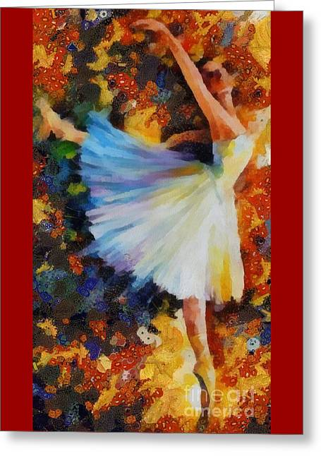 Print On Canvas Greeting Cards - Ballerina Fragmented Greeting Card by Catherine Lott