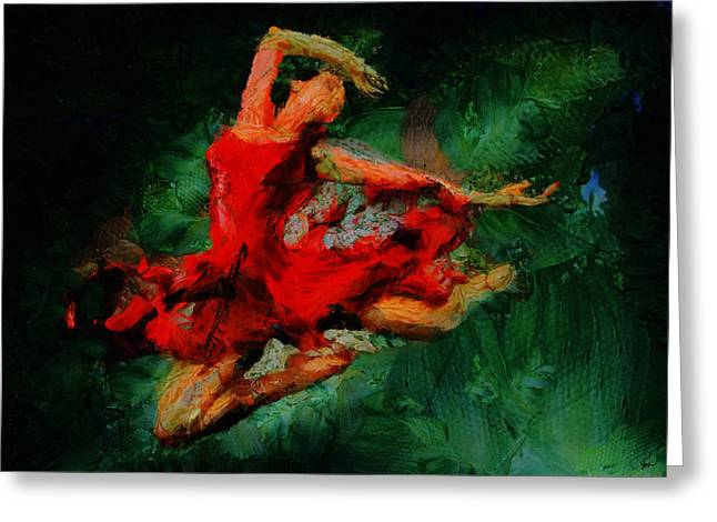 Dancing Girl Greeting Cards - Ballerina Girl -  Love Is Seduction  Greeting Card by Sir Josef  Putsche