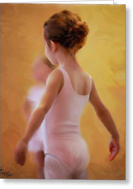 Ballerina In Pink Greeting Card by Colleen Taylor