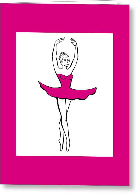 Ballerina In The Pink Dress Greeting Card by Irina Sztukowski