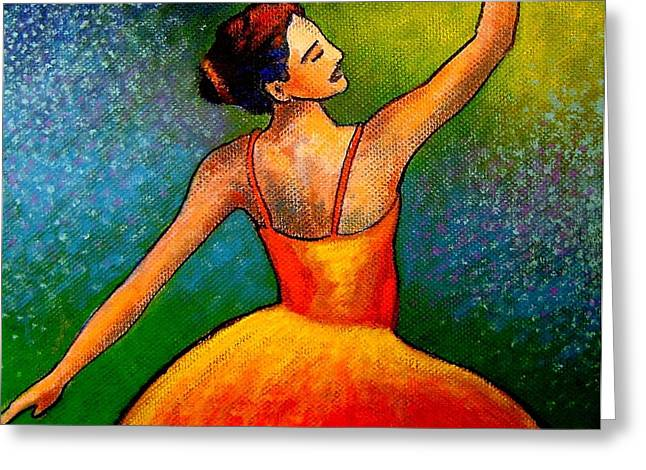 Orange Posters Greeting Cards - Ballerina Greeting Card by John  Nolan