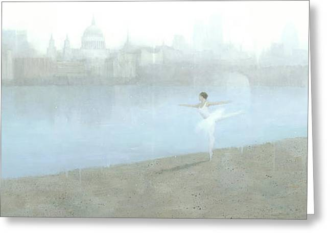 Ballerinas Greeting Cards - Ballerina on the Thames Greeting Card by Steve Mitchell