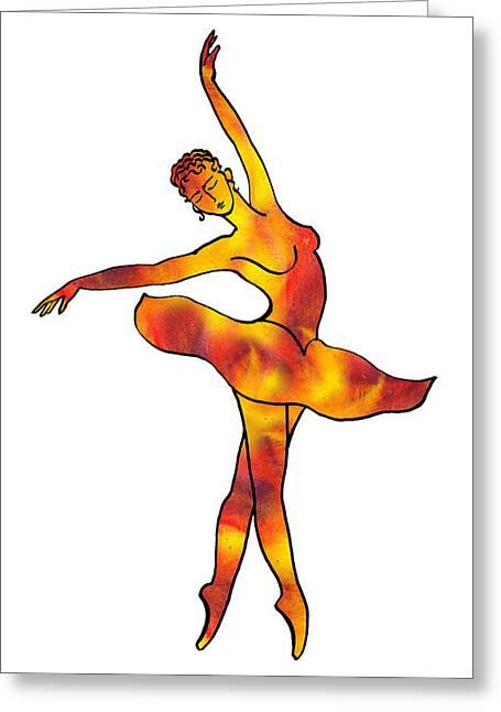 Lessons Greeting Cards - Ballerina Silhouette Dancing Fire Greeting Card by Irina Sztukowski