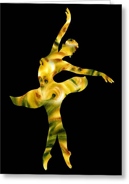 Lessons Greeting Cards - Ballerina Silhouette Green Beige Yellow Greeting Card by Irina Sztukowski