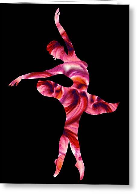 Ballerina Silhouette Passion Pink Greeting Card by Irina Sztukowski