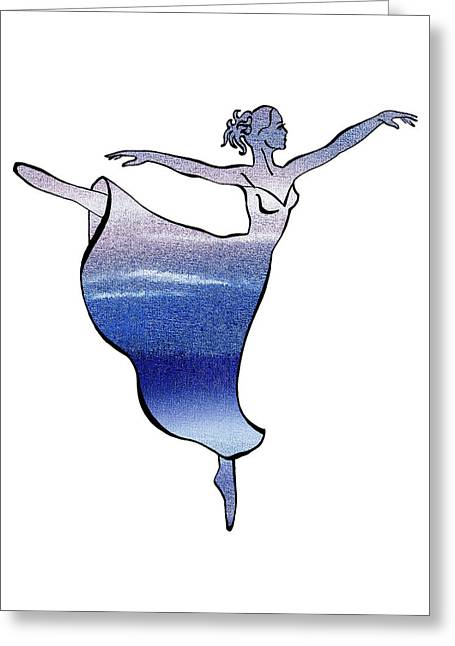 White Paintings Greeting Cards - Ballerina Silhouette Peaceful Blue Dance Greeting Card by Irina Sztukowski