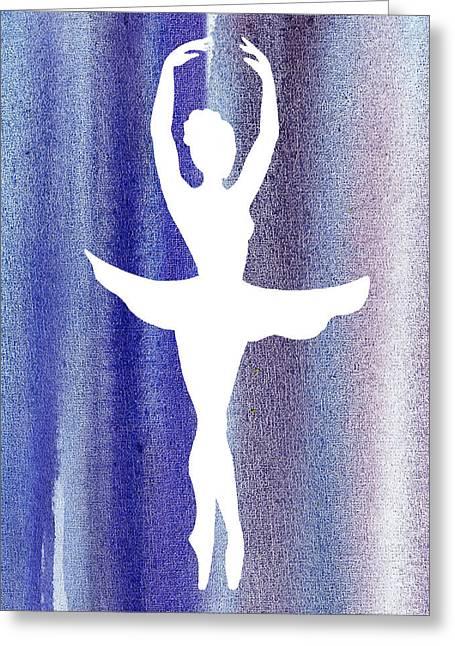 Lessons Greeting Cards - Ballerina Silhouette Swan Lake Greeting Card by Irina Sztukowski