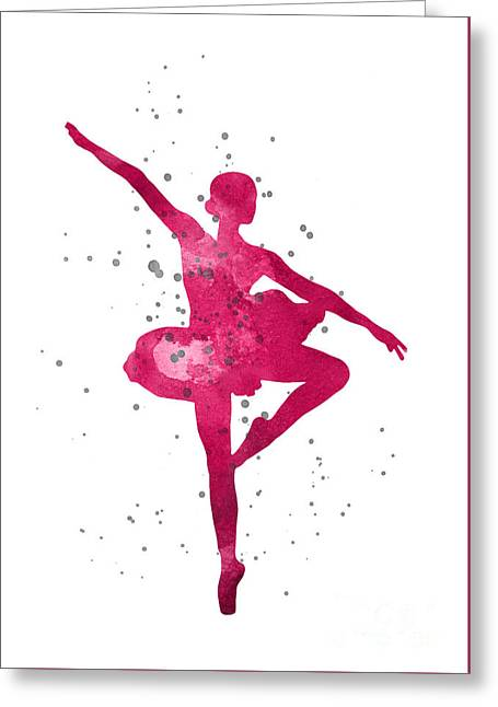 Ballerina Silhouette Watercolor Painting Greeting Card by Joanna Szmerdt