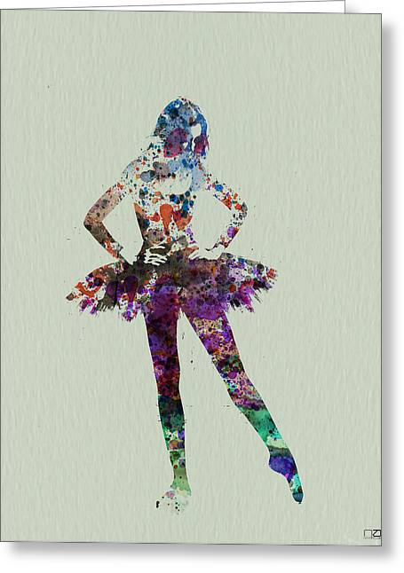 Gymnastics Greeting Cards - Ballerina watercolor Greeting Card by Naxart Studio