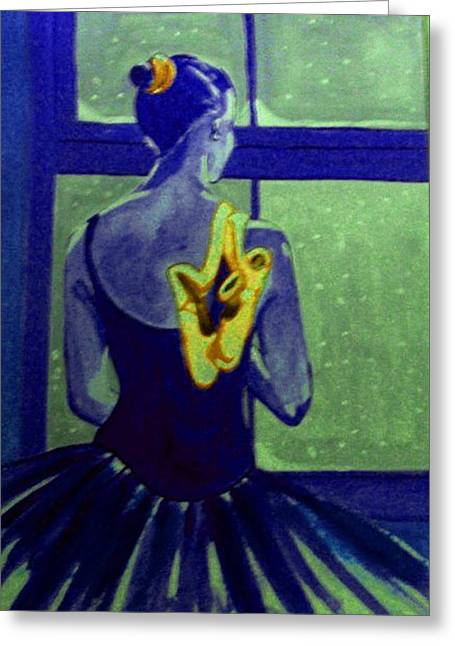 Ballerine En Hiver Greeting Card by Rusty Woodward Gladdish