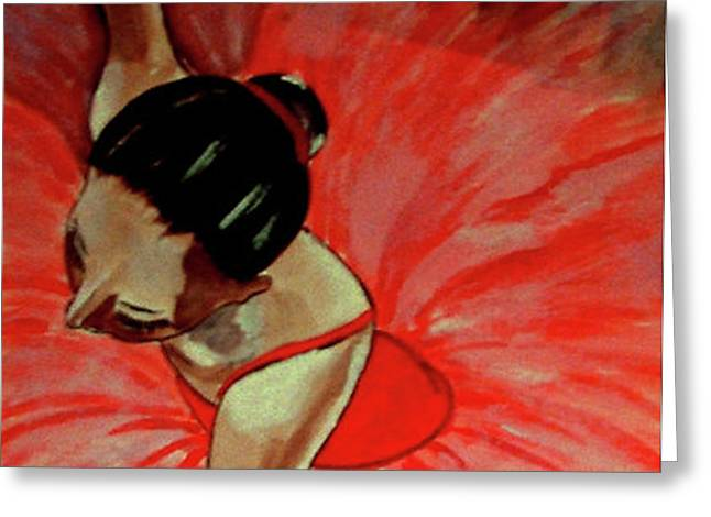 Ballerine Rouge Greeting Card by Rusty Woodward Gladdish