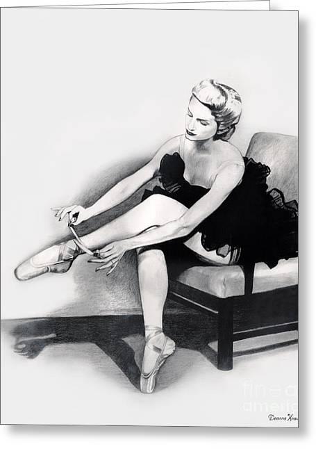 Ballet Dancers Drawings Greeting Cards - Ballet Dancer at rest Greeting Card by Deanna Yildiz