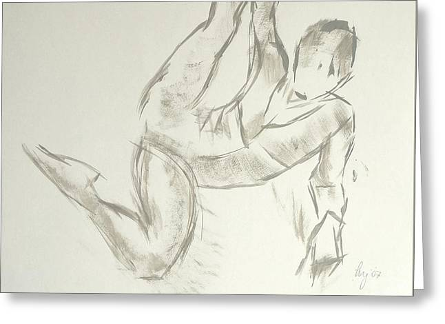 Ballet Dancers Drawings Greeting Cards - Ballet dancer lying on floor and stretching leg by grabbing ankle Greeting Card by Mike Jory