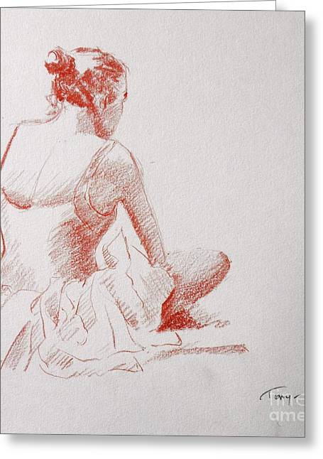 Ballet Dancers Drawings Greeting Cards - Ballet Dancer Resting Greeting Card by Tony Calleja