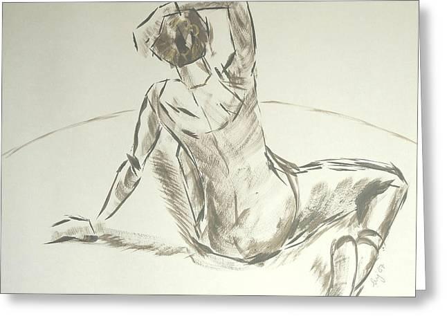 Ballet Dancers Drawings Greeting Cards - Ballet dancer brush drawing Greeting Card by Mike Jory