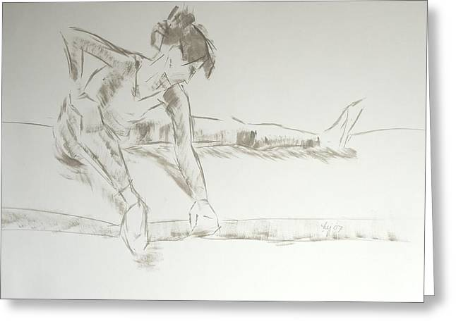 Ballet Dancers Drawings Greeting Cards - Ballet dancer seated stretching leg Greeting Card by Mike Jory