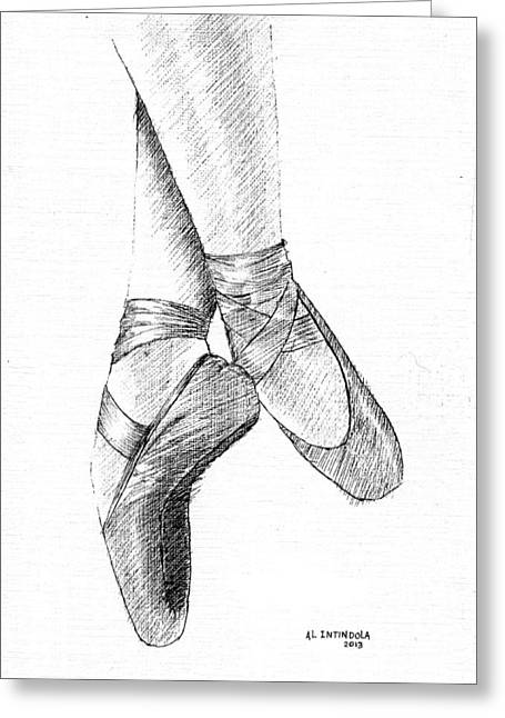 Best Sellers -  - Ballet Dancers Drawings Greeting Cards - Ballet Shoes Greeting Card by Al Intindola