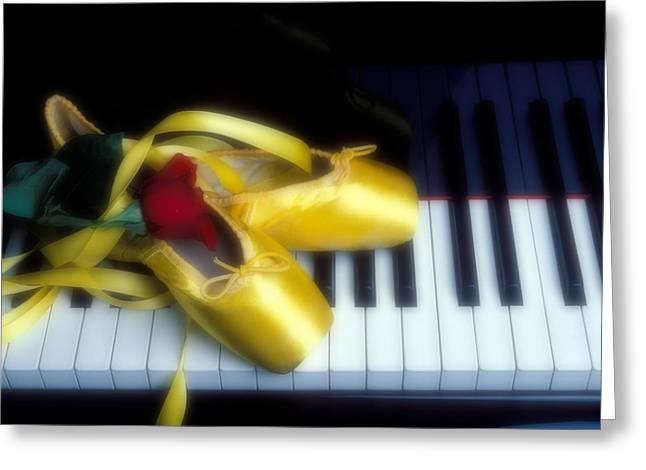 Dancing Petals Greeting Cards - Ballet shoes on piano keys Greeting Card by Garry Gay