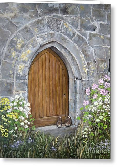 Irish Gig Greeting Cards - Ballinderry Castle Door Greeting Card by Janice Guinan