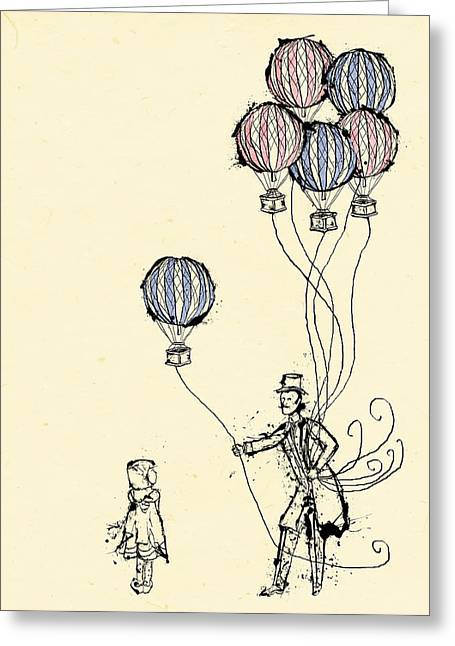 Whimsical Mixed Media Greeting Cards - Ballons for Sale Greeting Card by William Addison