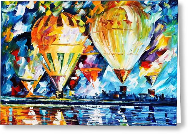 Sea Sports Greeting Cards - BALLOON FESTIVAL new Greeting Card by Leonid Afremov