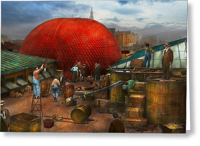 Vintage Greeting Cards - Balloon - Filling balloon on Wanamakers  - 1911 Greeting Card by Mike Savad