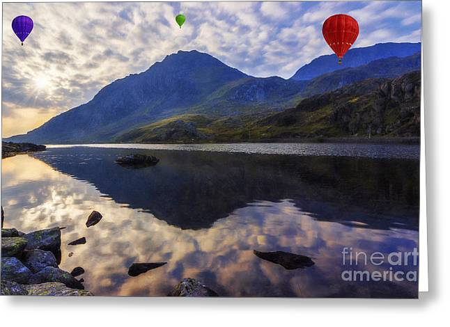 Calm Waters Digital Greeting Cards - Balloon Flight At Sunrise Greeting Card by Ian Mitchell