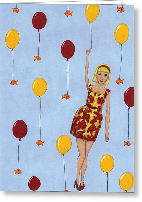 Goldfish Paintings Greeting Cards - Balloon Girl Greeting Card by Christy Beckwith