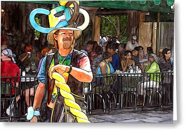 Balloon Guy At Cafe Du Monde Greeting Card by John Boles