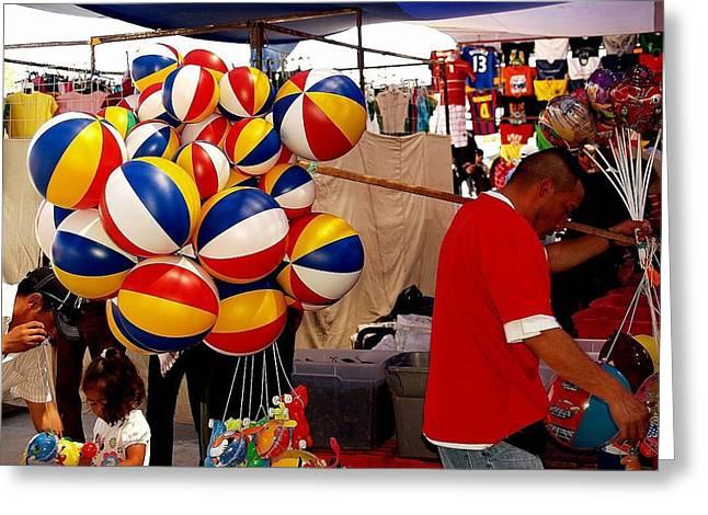 Balloon Vendor Greeting Cards - Balloon Man Greeting Card by Bc May