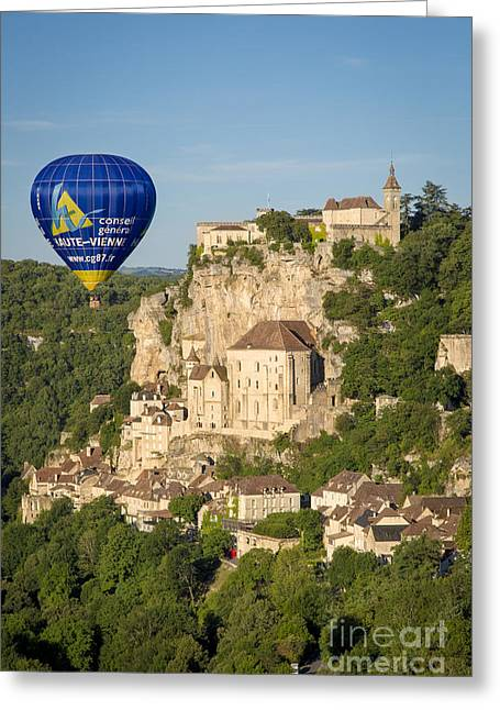 Historic Home Greeting Cards - Balloon over Rocamadour Greeting Card by Brian Jannsen