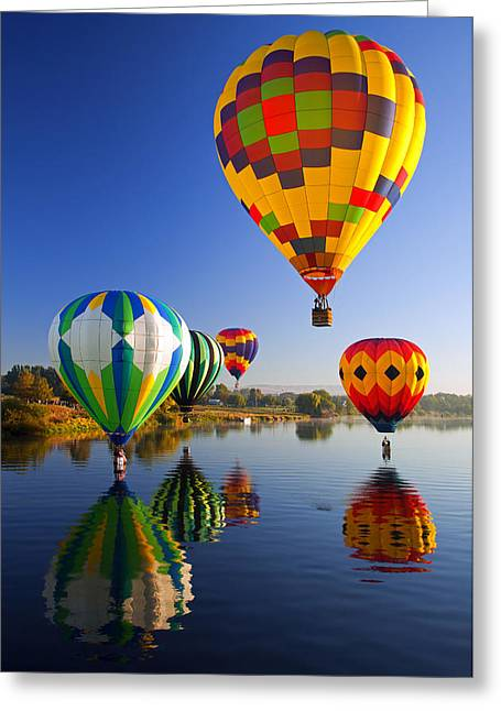 """hot Air Balloons"" Greeting Cards - Balloon Reflections Greeting Card by Mike  Dawson"