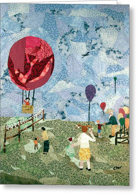 Air Tapestries - Textiles Greeting Cards - Balloon rides Greeting Card by Charlene White
