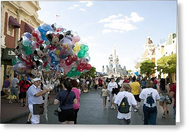 Balloon Vendor Greeting Cards - Balloon Vendor at Magic Kingdom Greeting Card by Christopher Purcell