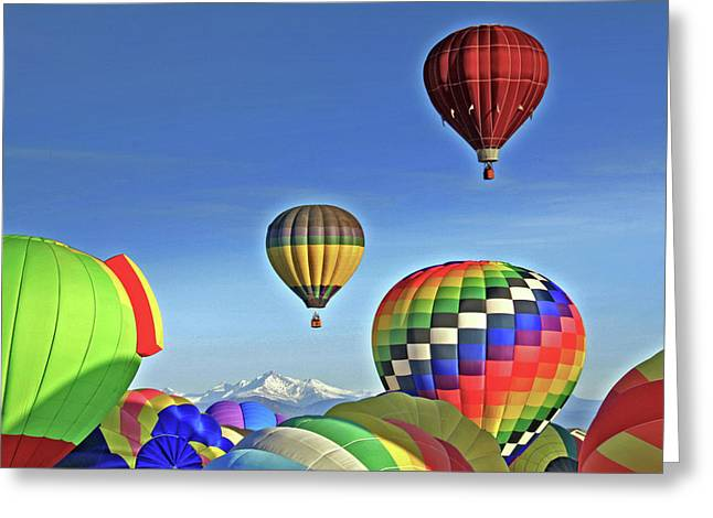Floating Girl Greeting Cards - Ballooning Above Longs Peak Greeting Card by Scott Mahon