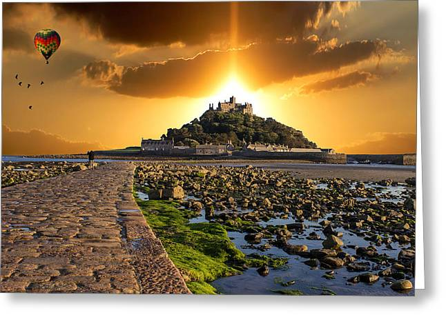 Ballooning Over St Michaels Mount Greeting Card by Martin Newman